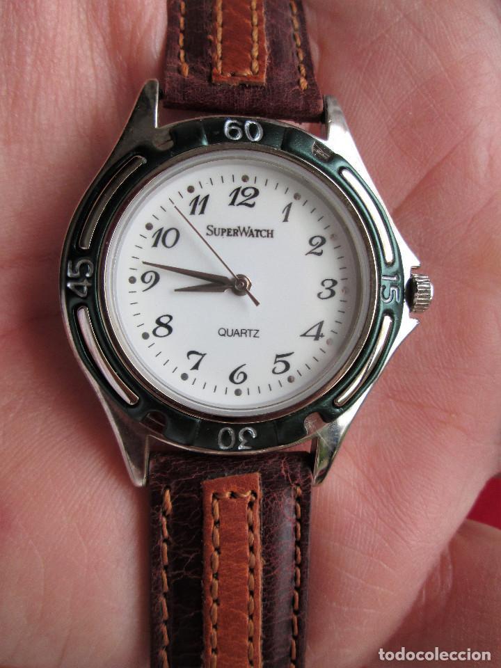 Relojes automáticos: RELOJ DE PULSERA SUPERWATCH QUARTZ - FUNCIONANDO - SIN ESTRENAR, SIN RALLAR - CORREA DE PIEL - Foto 9 - 210549478