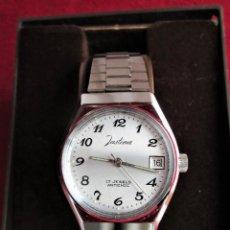 Relojes automáticos: RELOJ DE PULSERA JUSTINA CARGA MANUAL - FUNCIONANDO - CORREA ORIGINAL DE ACERO INOXIDABLE -. Lote 210550075