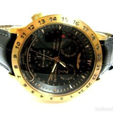Relojes automáticos: RELOJ AUTOMÁTICO PERIGAUM CRONOGRAFO DORADO RELOJ DE PULSERA CON NEGRO COLGANTE-PRODUCTOS NUEVOS. Lote 211658495