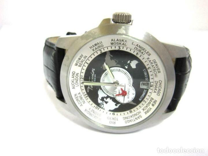 TORPEDO-RELOJ AUTOMÁTICO DE PULSERA CORRE NEGRA HORARIO MUNDIAL-PRODUCTOS NUEVOS - VER FOTOS (Relojes - Relojes Automáticos)