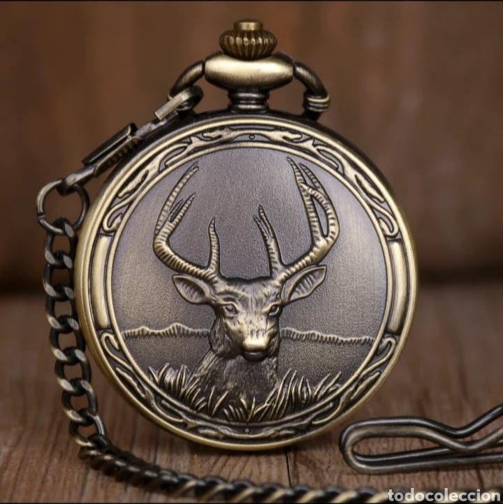 RELOJ DE BOLSILLO CON LEONTINA ROSTRO CIERVO. VENADO VINTAGE (Relojes - Relojes Automáticos)