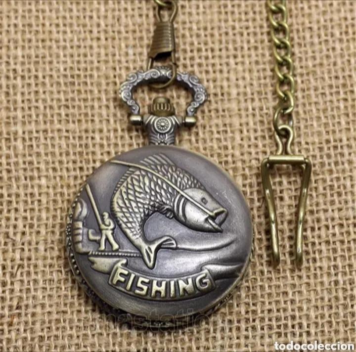 RELOJ DE BOLSILLO CON LEONTINA PESCA FISHING. PEZ PESCADOR VINTAGE (Relojes - Relojes Automáticos)