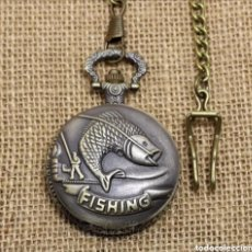 Relojes automáticos: RELOJ DE BOLSILLO CON LEONTINA PESCA FISHING. PEZ PESCADOR VINTAGE. Lote 214376196