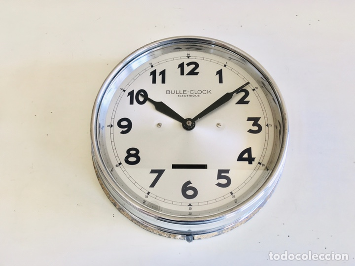 BULLE-CLOCK OB84 RELOJ DE PARED INDUSTRIAL REDONDO DE MECANISMO ELÉCTRICO EN CAJA CROMADA (Relojes - Relojes Automáticos)