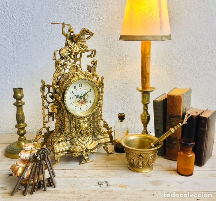 RELOJ DE BRONCE DE SOBREMESA AÑOS 60S CON FIGURA DE JINETE A CABALLO Y MÁQUINA DE CUARZO (Relojes - Relojes Automáticos)