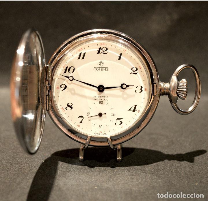 RELOJ DE BOLSILLO AUTOMATICO Y CARGA MANUAL SUIZO POTENS SABONETA 17 RUBIS SWISS MADE (Relojes - Relojes Automáticos)