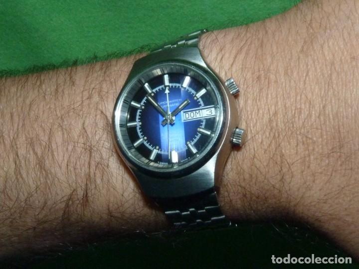 Relojes automáticos: SOLIDO RELOJ SUPER WATCH ALARMA AUTOMATICO CALIBRE As 5008 SWISS MADE 25 RUBIS ACERO AÑOS 70 - Foto 11 - 221719655
