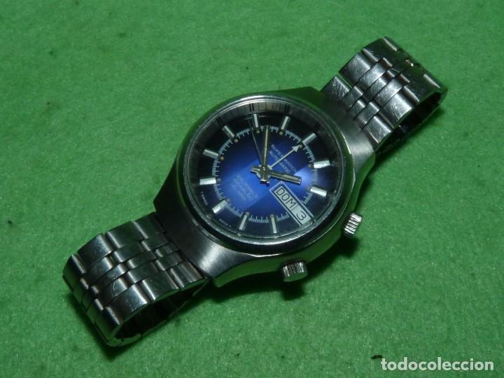 Relojes automáticos: SOLIDO RELOJ SUPER WATCH ALARMA AUTOMATICO CALIBRE As 5008 SWISS MADE 25 RUBIS ACERO AÑOS 70 - Foto 2 - 221719655