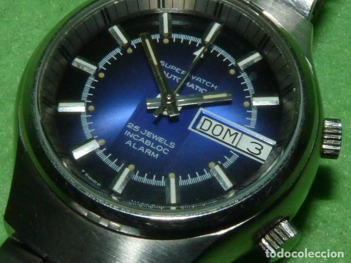 Relojes automáticos: SOLIDO RELOJ SUPER WATCH ALARMA AUTOMATICO CALIBRE As 5008 SWISS MADE 25 RUBIS ACERO AÑOS 70 - Foto 3 - 221719655