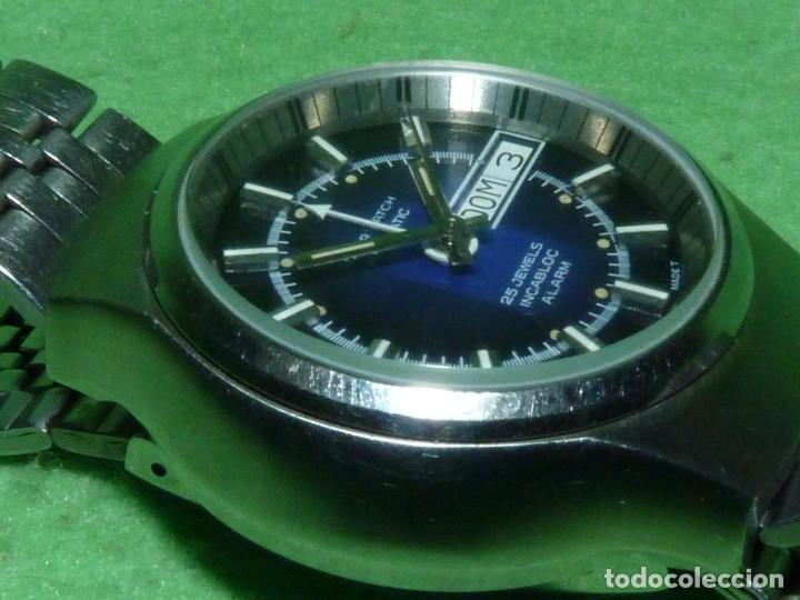 Relojes automáticos: SOLIDO RELOJ SUPER WATCH ALARMA AUTOMATICO CALIBRE As 5008 SWISS MADE 25 RUBIS ACERO AÑOS 70 - Foto 4 - 221719655