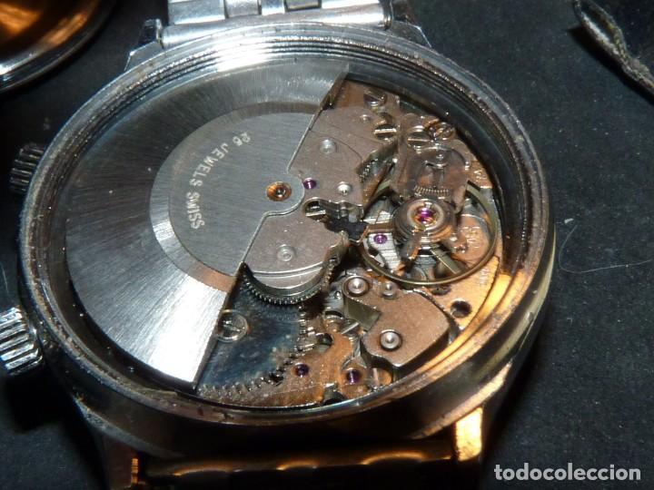Relojes automáticos: SOLIDO RELOJ SUPER WATCH ALARMA AUTOMATICO CALIBRE As 5008 SWISS MADE 25 RUBIS ACERO AÑOS 70 - Foto 8 - 221719655