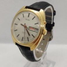 Relojes automáticos: RELOJ RUSO SLAVA AUTOMÁTICO BAÑADO EN ORO 27 RUBIES FABRICADO EN LA URSS. Lote 221835366
