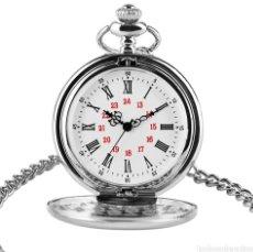 Relojes automáticos: RELOJ DE BOLSILLO CON LEONTINA, PLATEADO. ELEGANTE.. Lote 222075123