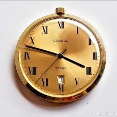 Relojes automáticos: RELOJ AUTOMATICO CONSUL CALENDARIO DE BOLSILLO COLOR ORO - 40.MM DIAMETRO (FUNCIONA PERFECTAMENTE). Lote 222367626