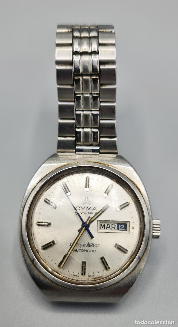 RELOJ DE PULSERA CYMA BY SYNCHRON. MODELO CONQUISTADOR. SUIZA. CIRCA 1970. (Relojes - Relojes Automáticos)