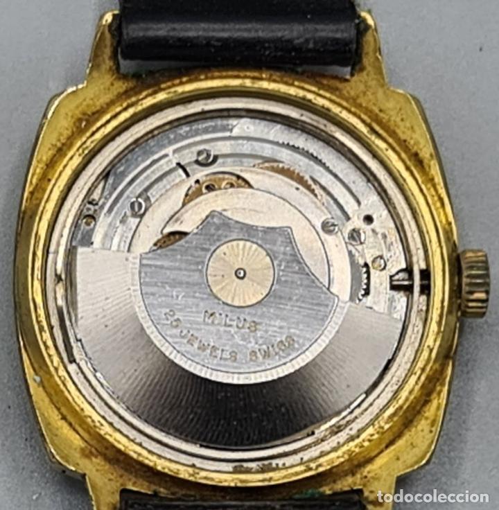 Relojes automáticos: RELOJ DE PULSERA MILUS. AUTOMATIC. CAJA DE METAL CHAPADO EN ORO. CIRCA 1960. - Foto 5 - 228112055