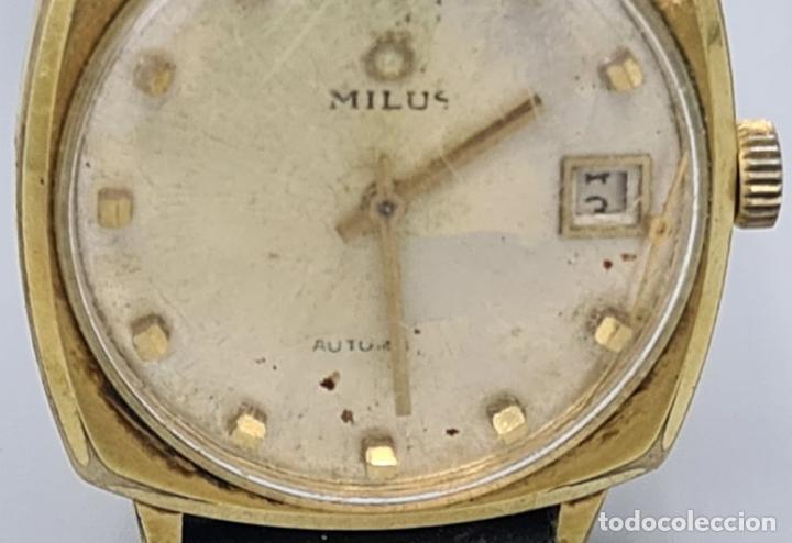 Relojes automáticos: RELOJ DE PULSERA MILUS. AUTOMATIC. CAJA DE METAL CHAPADO EN ORO. CIRCA 1960. - Foto 7 - 228112055