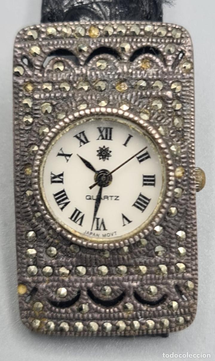 Relojes automáticos: RELOJ DE SEÑORA. CUARZO. CAJA CON INCRUSTACION DE HEMATITES. CIRCA 1970. - Foto 5 - 230334010
