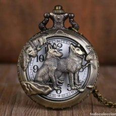 Relojes automáticos: RELOJ DE BOLSILLO PAREJA DE PERROS LOBO.. Lote 232380855