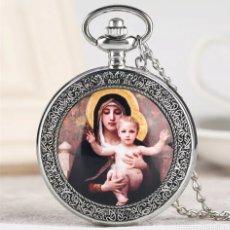 Relojes automáticos: RELOJ DE BOLSILLO PLATEADO. VIRGEN MARÍA CON NIÑO JESUS. Lote 233244465