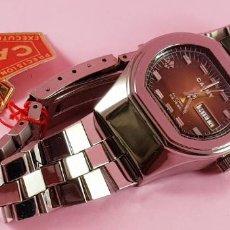 Relojes automáticos: RELOJ-CAUNY PRIMA AUTOMATIC-25 RIBÍS-SWISS-SEÑORA-NOS-ETIQUETA-MARRÓN TORNASOL-COLECCIONISTAS. Lote 233258260