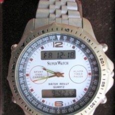 Relojes automáticos: RELOJ DE PULSERA SUPERWATCH QUARTZ – MULTIFUNCION, DIGITAL Y AGUJAS - FUNCIONANDO - CORREA ORIGINAL. Lote 234448965