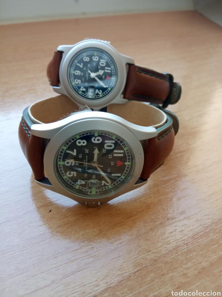 Relojes automáticos: Dos relojes caballero y señora correa piel marrón y verde oscuro. Sin estrenar - Foto 2 - 234907110