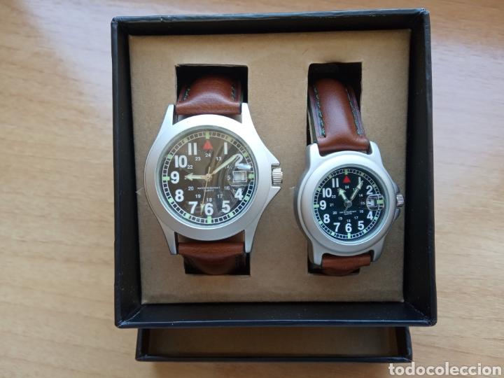 Relojes automáticos: Dos relojes caballero y señora correa piel marrón y verde oscuro. Sin estrenar - Foto 3 - 234907110