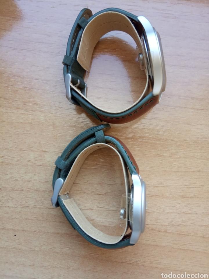 Relojes automáticos: Dos relojes caballero y señora correa piel marrón y verde oscuro. Sin estrenar - Foto 4 - 234907110