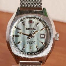 Relojes automáticos: RELOJ SEÑORA (VINTAGE) AUTOMÁTICO ORIENT CALENDARIO A LAS 3 HORAS DE ACERO, CORREA ORIGINAL ACERO. Lote 242981560