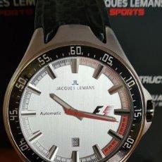 Relojes automáticos: RELOJ CABALLERO AUTOMÁTICO JACQUES LEMANS. FÓRMULA 1, ESFERA BLANCA, CAJA ACERO, CAJA Y LA GARANTÍA. Lote 244662640