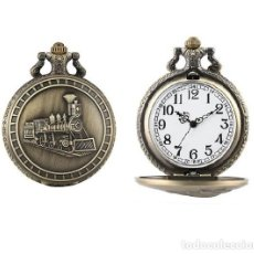 Relojes automáticos: RELOJ BOLSILLO TREN LOCOMOTORA (CON CAJA). Lote 254102440