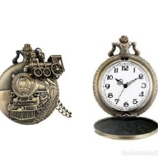 Relojes automáticos: RELOJ BOLSILLO TREN LOCOMOTORA (CON CAJA). Lote 254102475