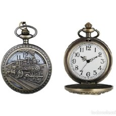 Relojes automáticos: RELOJ BOLSILLO TREN LOCOMOTORA (CON CAJA). Lote 254102505