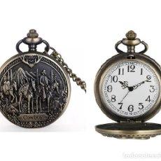 Relojes automáticos: RELOJ BOLSILLO VAQUERO COWBOY CABALLOS (CON CAJA). Lote 254103050
