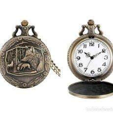 Relojes automáticos: RELOJ BOLSILLO ZORROS LOBOS PERROS (CON CAJA). Lote 254103215