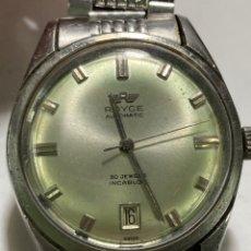 Relógios automáticos: RELOJ ROYCE AUTOMÁTICO EN ACERO COMPLETO ARMYS ORIGINAL AÑOS 60 30 JEWELS MAQUINARIA TITAN. Lote 261280855