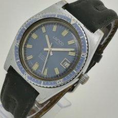 Relojes automáticos: RELOJ AUTOMÁTICO LANCO DATE 21 JEWELS 53029-8 AZUL CAL. 2481 SWISS MADE VINTAGE DE SEGUNDA MANO. Lote 262456095
