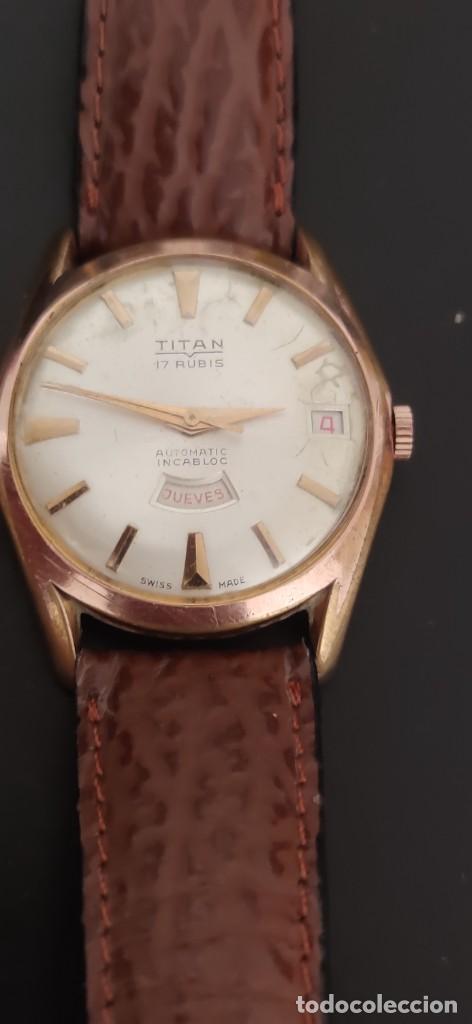 Relojes automáticos: TITAN 17 RUBIS AUTOMATICO, DOBLE CALENDARIO, VINTAGE ,FUNCIONANDO, PRECIOSO. - Foto 3 - 279367343