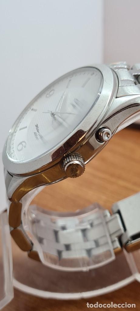 Relojes automáticos: Reloj (Vintage) ORIENT automático acero, esfera blanca, doble calendario tres, correa acero Orient - Foto 4 - 284398618