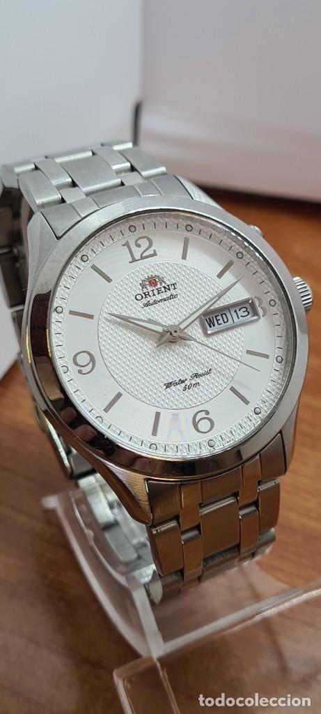 Relojes automáticos: Reloj (Vintage) ORIENT automático acero, esfera blanca, doble calendario tres, correa acero Orient - Foto 5 - 284398618