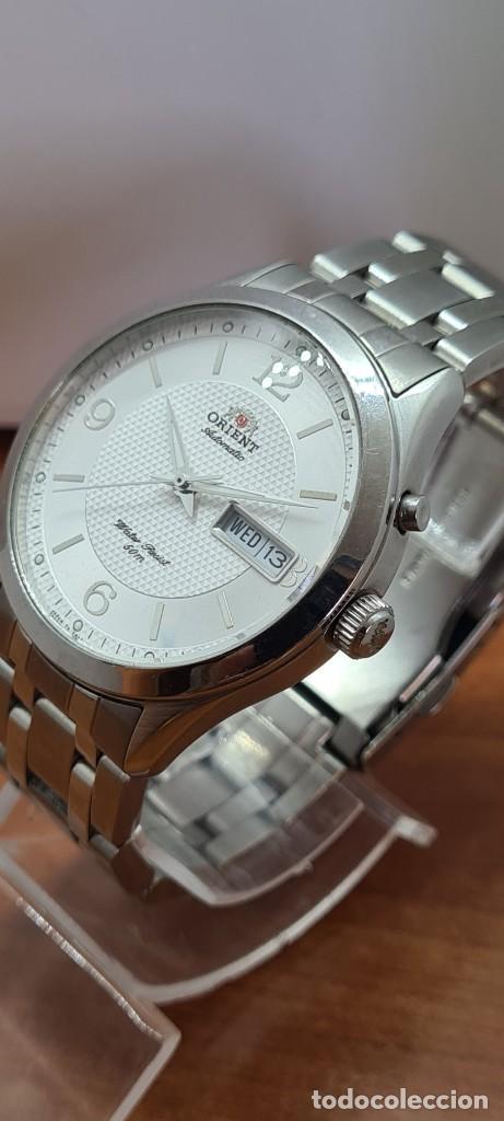 Relojes automáticos: Reloj (Vintage) ORIENT automático acero, esfera blanca, doble calendario tres, correa acero Orient - Foto 6 - 284398618
