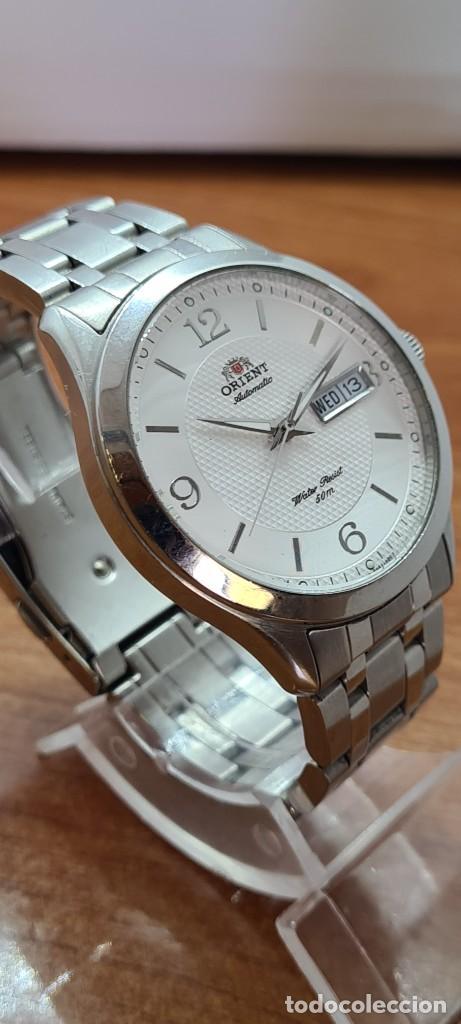Relojes automáticos: Reloj (Vintage) ORIENT automático acero, esfera blanca, doble calendario tres, correa acero Orient - Foto 9 - 284398618