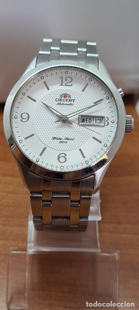 Relojes automáticos: Reloj (Vintage) ORIENT automático acero, esfera blanca, doble calendario tres, correa acero Orient - Foto 13 - 284398618