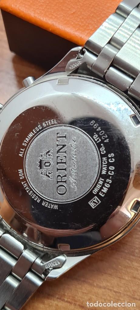 Relojes automáticos: Reloj (Vintage) ORIENT automático acero, esfera blanca, doble calendario tres, correa acero Orient - Foto 15 - 284398618