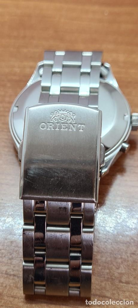 Relojes automáticos: Reloj (Vintage) ORIENT automático acero, esfera blanca, doble calendario tres, correa acero Orient - Foto 17 - 284398618