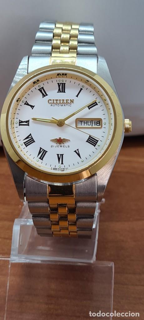 RELOJ (VINTAGE) CITIZEN AUTOMÁTICO ACERO BICOLOR, ESFERA BLANCA, DOBLE CALENDARIO, CORREA ORIGINAL (Relojes - Relojes Automáticos)