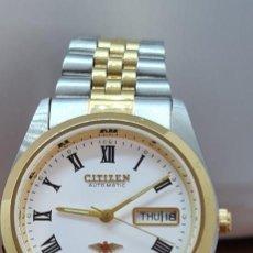 Relojes automáticos: RELOJ (VINTAGE) CITIZEN AUTOMÁTICO ACERO BICOLOR, ESFERA BLANCA, DOBLE CALENDARIO, CORREA ORIGINAL. Lote 284407063