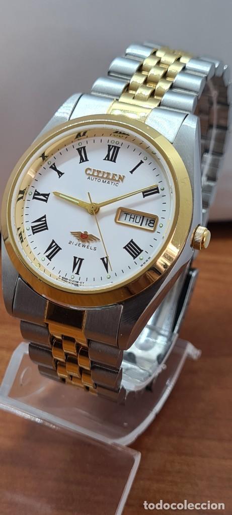Relojes automáticos: Reloj (Vintage) CITIZEN automático acero bicolor, esfera blanca, doble calendario, correa original - Foto 2 - 284407063