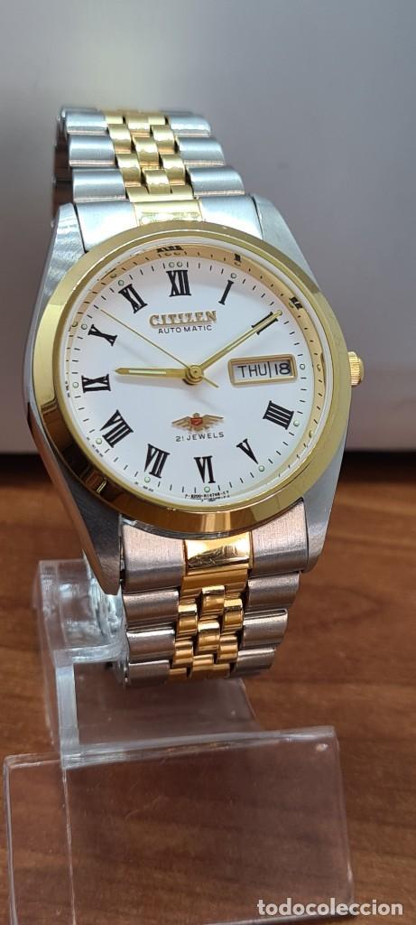 Relojes automáticos: Reloj (Vintage) CITIZEN automático acero bicolor, esfera blanca, doble calendario, correa original - Foto 3 - 284407063